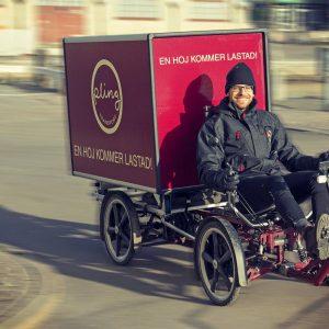 Elassisterad lastcykel 15 gånger energieffektivare än elskåpbil